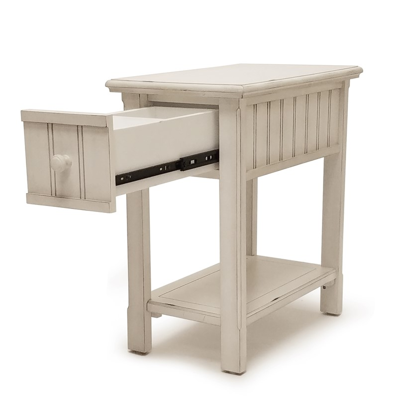 Blanc Finish Chairside Table Gelco Furniture Solid
